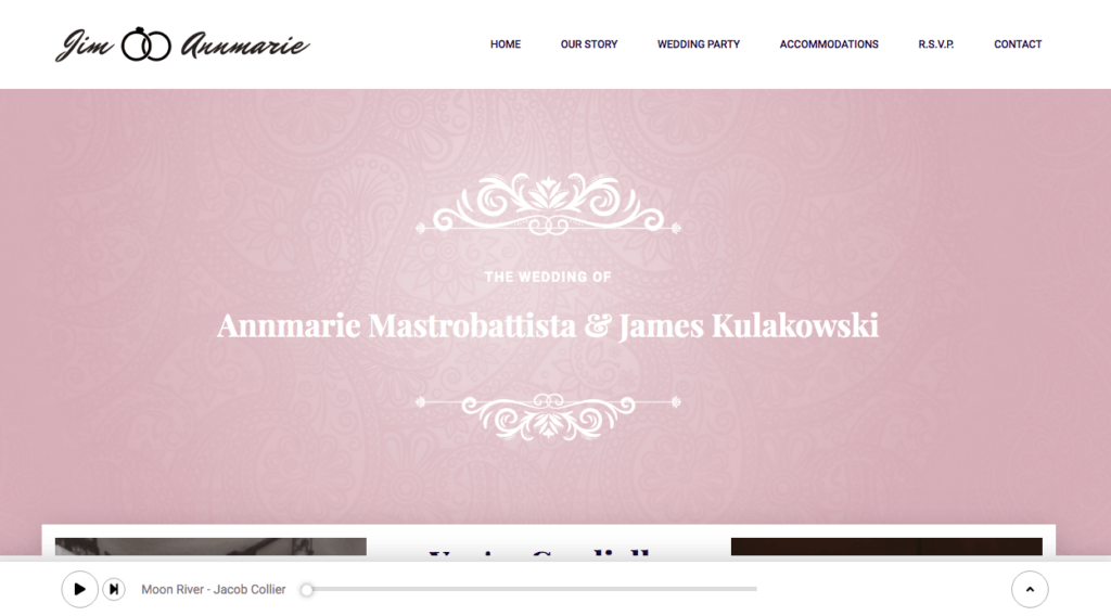 Jim and Annmarie's Wedding Website Screen Shot